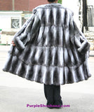 Luxurious Black Velvet Chinchilla Fur Coat M - Purple Shoshana Furs