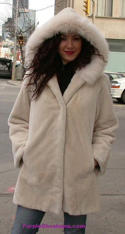 Hooded Cream Sheared Beaver Fur Coat S / M - Purple Shoshana Furs