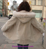 Hooded Cream Sheared Beaver Fur Coat S / M