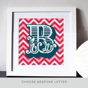 Custom Letter Chevron Pink/Red Cross Stitch Kit