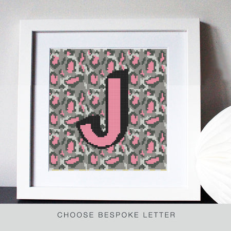 Custom Letter Leopard Print Pink/Grey Stitch Kit