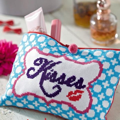 Kisses Make Up Bag - Cross Stitch PDF