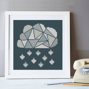 Geometric Cloud Silver Lining Cross Stitch Kit