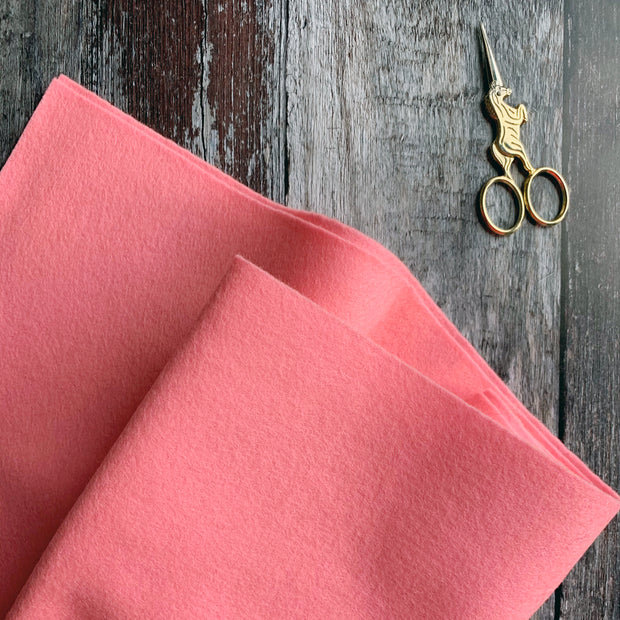 100% British Wool Felt Cut Sizes - Sherbert Pink