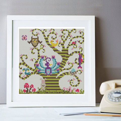 Folksy Tree Cross Stitch Kit