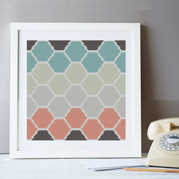 Ombre Hexagon Cross Stitch Kit