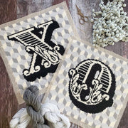Geo Monochrome Bespoke Letter Cross Stitch *LETTERBOX Kit*