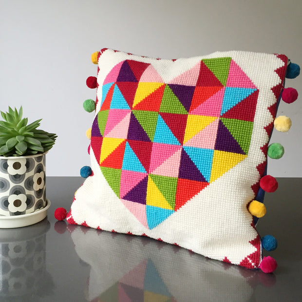 Geometric Rainbow Heart Tapestry Cross Stitch Kit