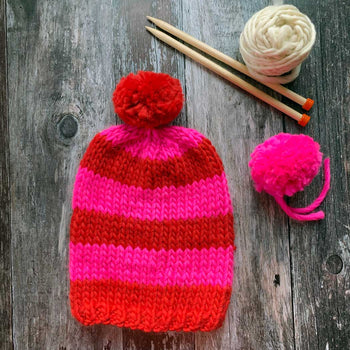 NEON NOGGIN Striped Hat DIY Knitting Kit