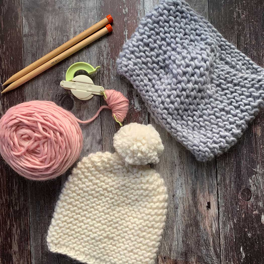 Ripple Beginner Hat and Snood Merino DIY Knitting Gift Kit