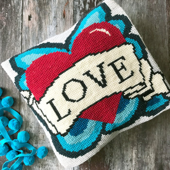 Forever Love Heart Tattoo Cross Stitch Kit