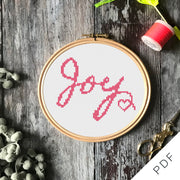 Joy, Mental Health Craftivism Cross Stitch PDF