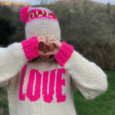 BIG LOVE  Intarsia Jumper Merino DIY Knitting Kit