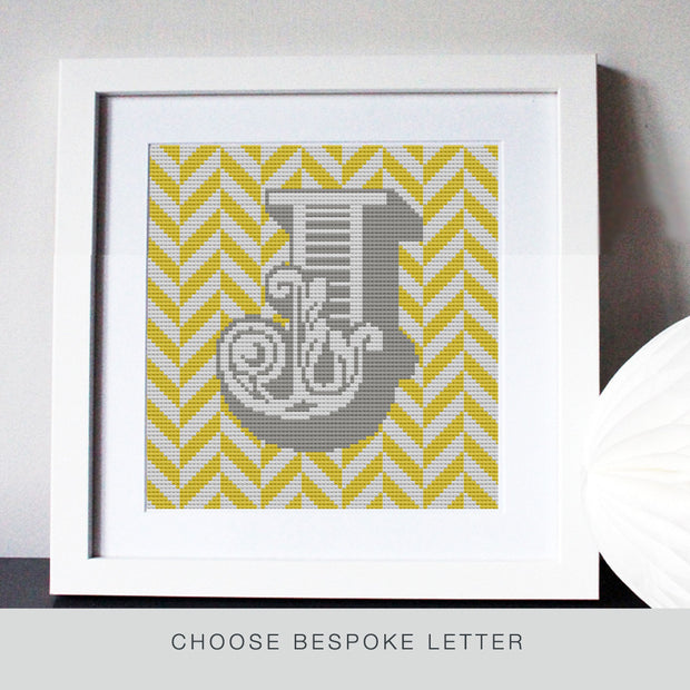 Custom Letter Geometric Chevron Yellow Cross Stitch Kit