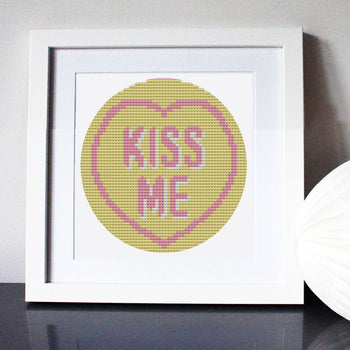 Kiss Me Love Heart Mini Cross Stitch Kit