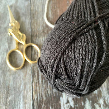 Metallica Metallic Cotton Aran Yarn - Black