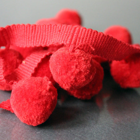 Cotton Pom Pom Trim - Red