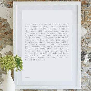 Friendship Poem Classic Art Print