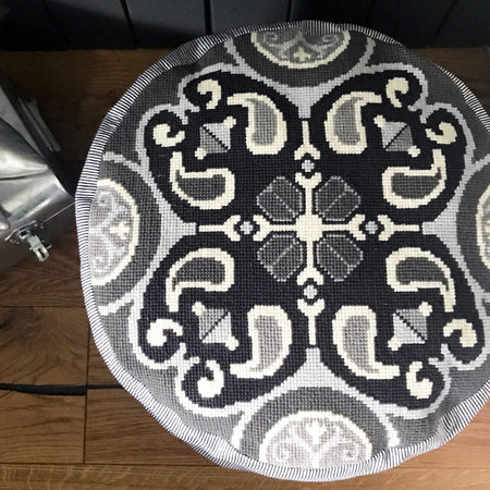 Monochrome Moroccan Pouffe Cross Stitch Kit