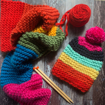 RAINBOW Beginner Hat and Scarf Merino DIY Knit Kit