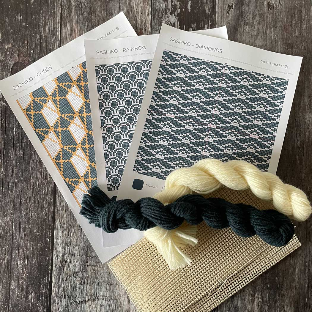 Sashiko Trio of Patterns & Wool Tapestry Cross Stitch Kit