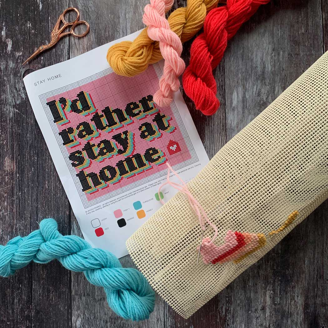 ID RATHER STAY HOME Covid Cross Stitch *LIMITED EDITION* Kit