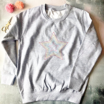 DIY Rainbow Star Embroidery Sweatshirt