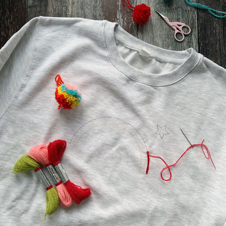 DIY Stitch A Rainbow Embroidery Sweatshirt