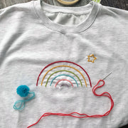 DIY Rainbow Cross Stitch Sweatshirt