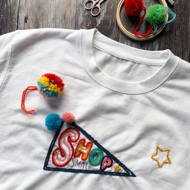 DIY SHOP SMALL Wool Embroidery Christmas Sweatshirt