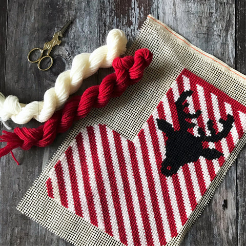 Stripe Reindeer Stocking Mini Cross Stitch Kit