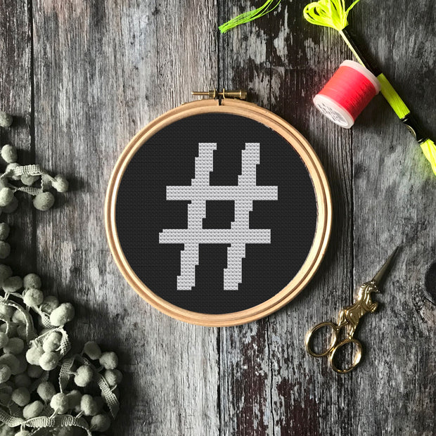 Typewriter Hashtag Cross Stitch, Large -  PDF