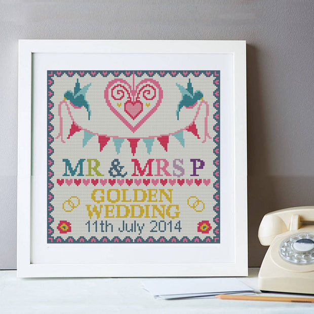 Wedding Golden Anniversary Personalised Sampler Cross Stitch Kit
