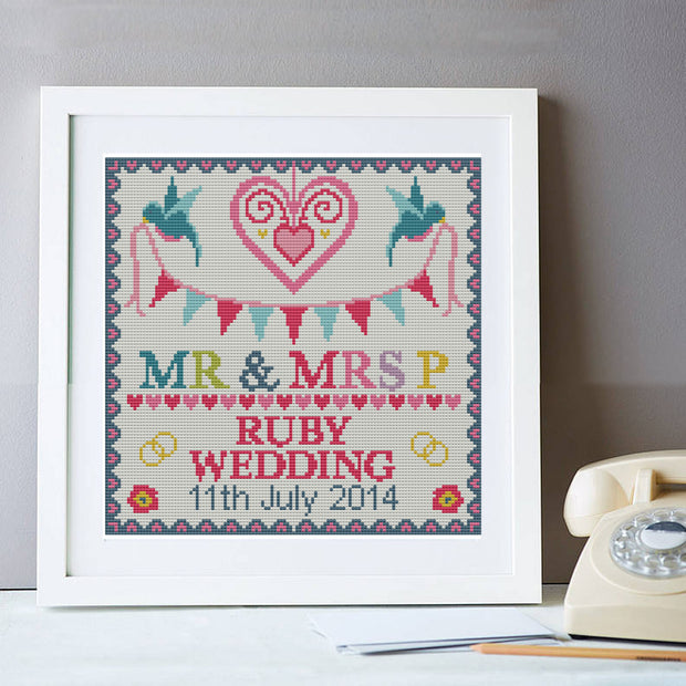 Wedding Ruby Anniversary Personalised Sampler Cross Stitch Kit