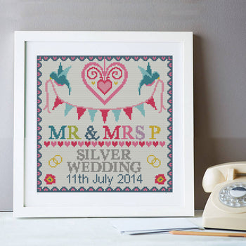 Wedding Silver Anniversary Personalised Sampler Cross Stitch Kit