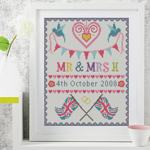Large Custom Wedding Sampler Cross Stitch Kit (Custom Flag & Name)