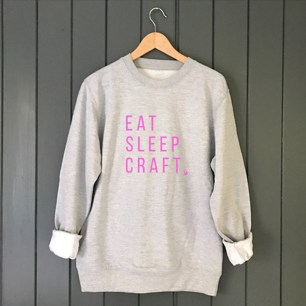 EAT SLEEP CRAFT Neon Boyfriend Fit Sweat