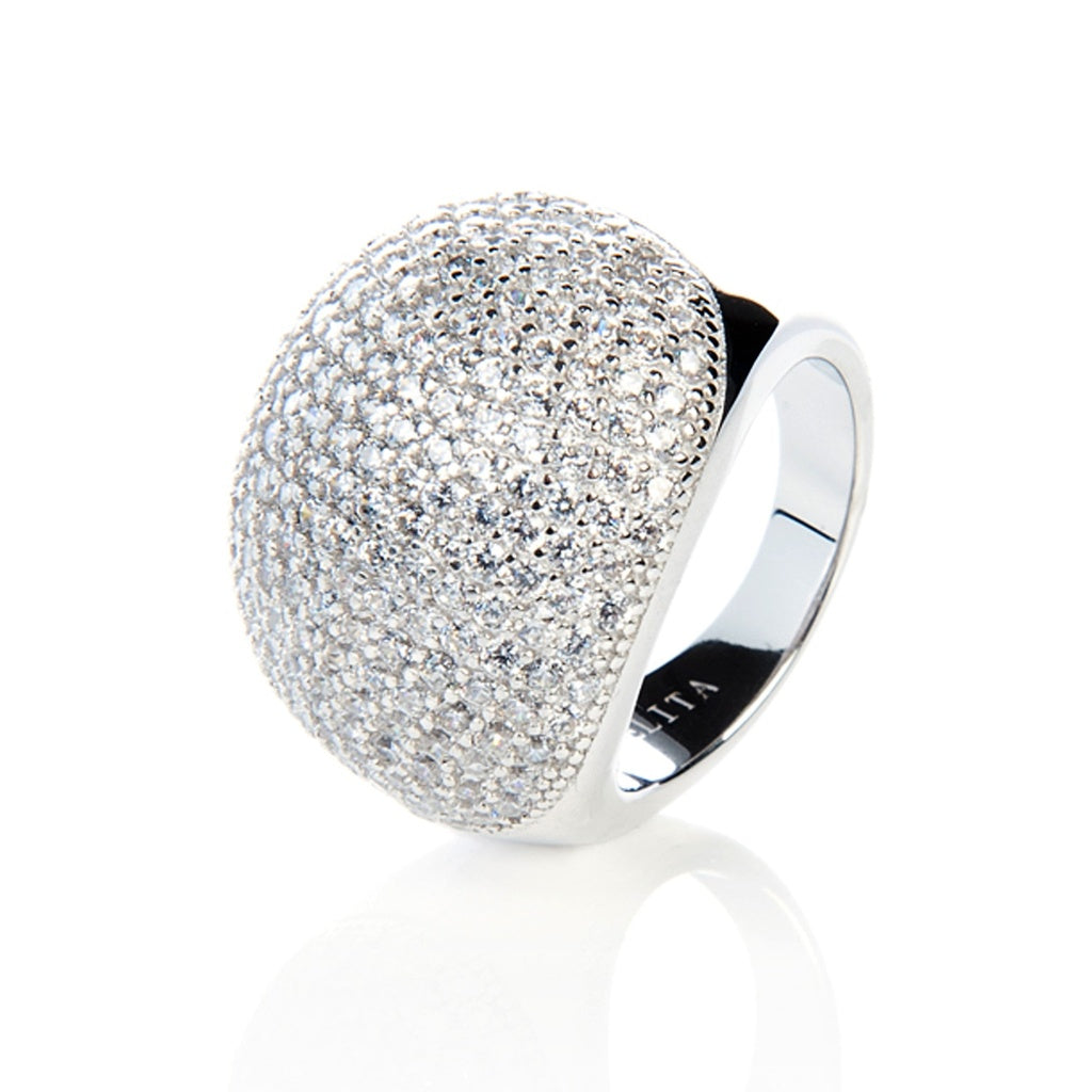 Silver Micro Pave Statement Cocktail  Ball Ring - Ceiba Imports