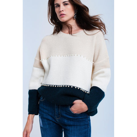 Beige knitted sweater with pearls