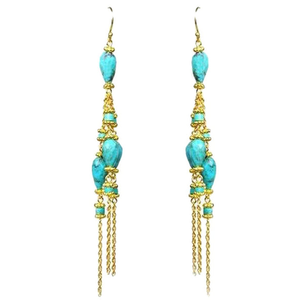 Turquoise Linear Chandelier Earrings - Ceiba Imports