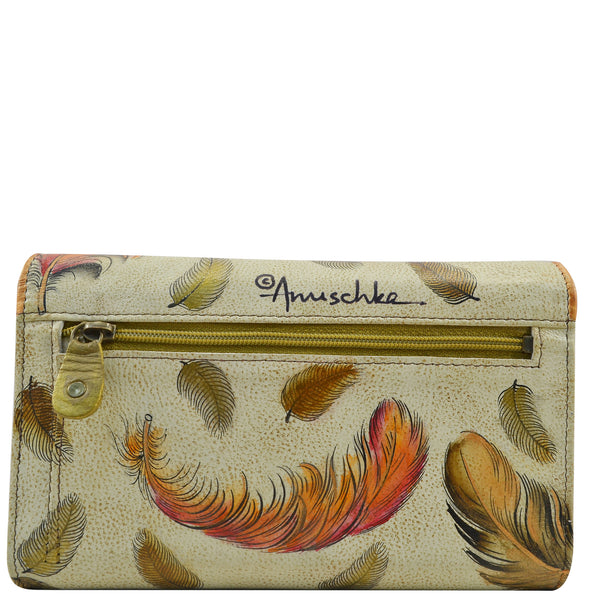 1006 Floating Feathers Ivory Check book Wallet - Ceiba Imports
