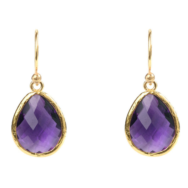 Petite Drop Amethyst Earrings - Ceiba Imports
