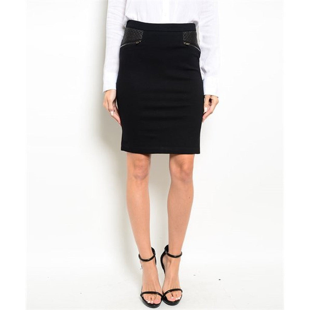 Women's Skirt Black Pencil With Leather Detail On Pockets - Ceiba Imports