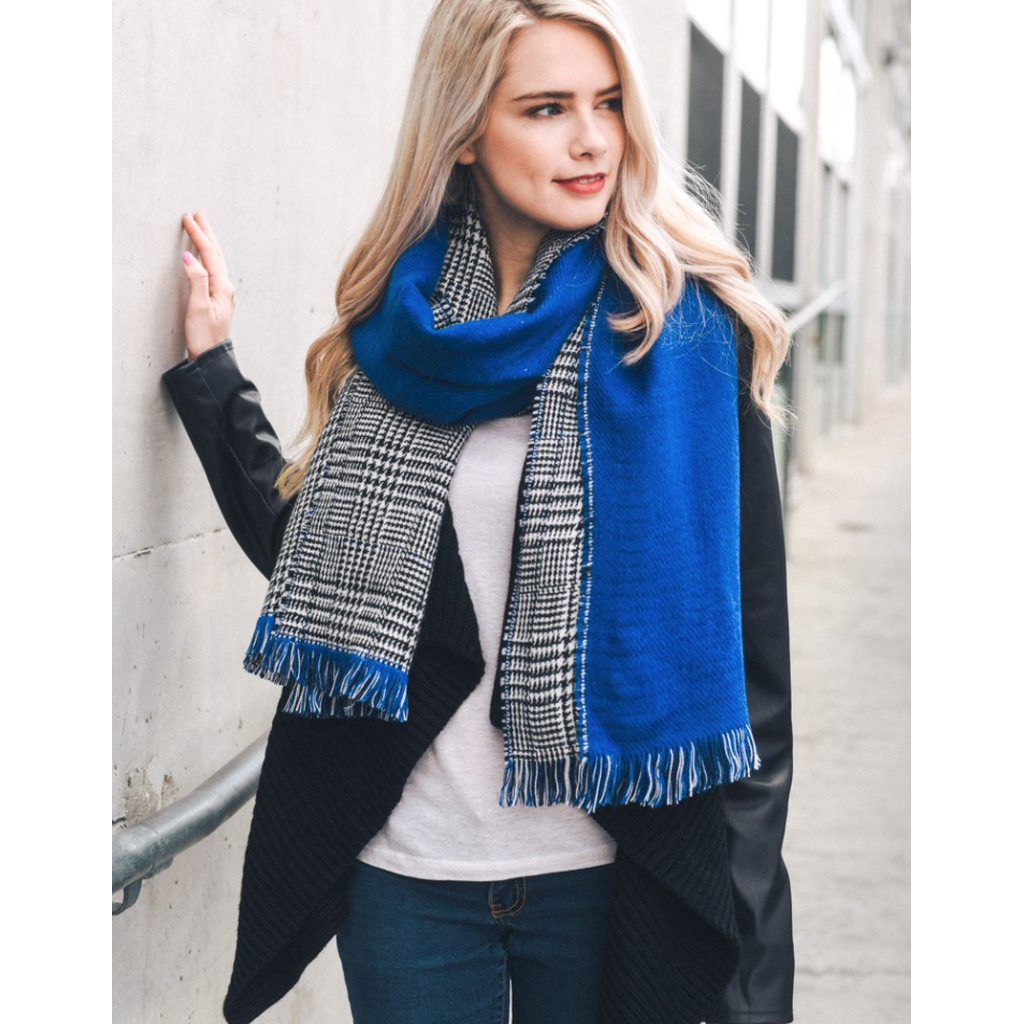 Royal Blue Houndstooth Reversible Frayed Edge Scarf - Ceiba Imports
