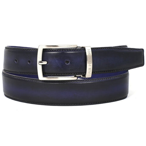 PAUL PARKMAN Men's Leather Belt Dual Tone Navy & Blue