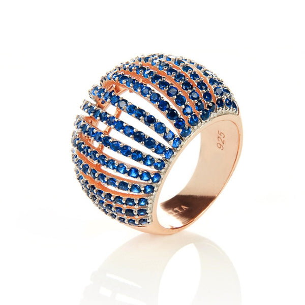 22ct Rose Gold Vermeil Micro pave statement cocktail Comb Ring - Blue Zircon
