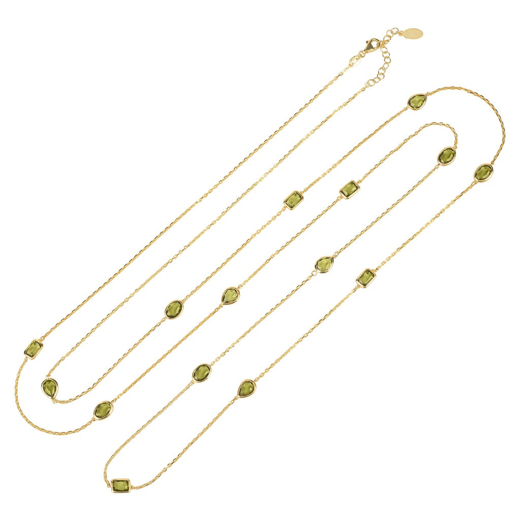 Venice 120cm Long Chain Necklace Gold Peridot - Ceiba Imports