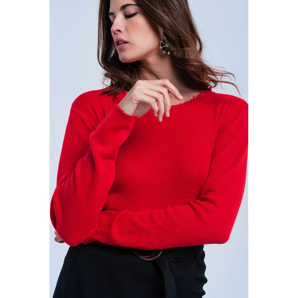 Red sweater with little cuts - Ceiba Imports