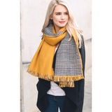 Mustard Houndstooth Reversible Frayed Edge Scarf