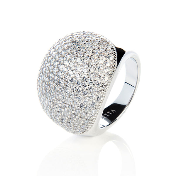 Silver Micro Pave Statement Cocktail  Ball Ring